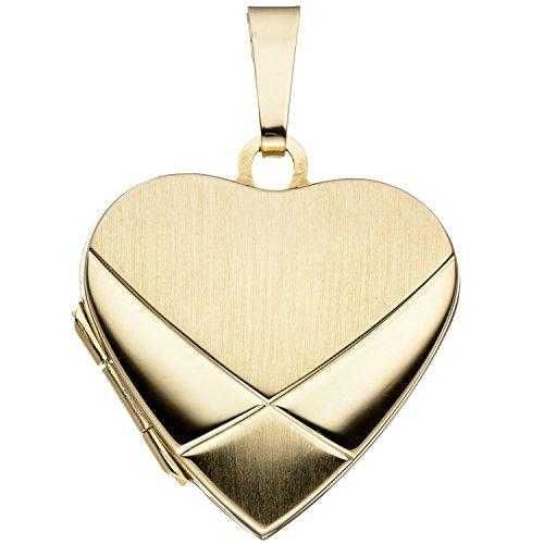 JOBO Damen-Medaillon Herz aus 585 Gold zum Öffnen für 2 Fotos