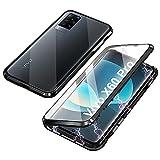 Funda Compatible con Vivo X60 Pro 5G, Carcasa Absorción Magnética con Armario Diseño, Aluminio Bumper Transparente Vidrio Templado Case Anti-Arañazos 360 Grados Cover,Negro