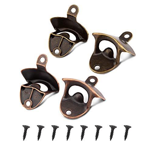 LUTER 4 Confezioni Montaggio a Parete Apribottiglie Rustico Design Vintage Apribottiglie Con 8 Viti Per Bar Cucina Da Caffè (Ciano, Rosso)