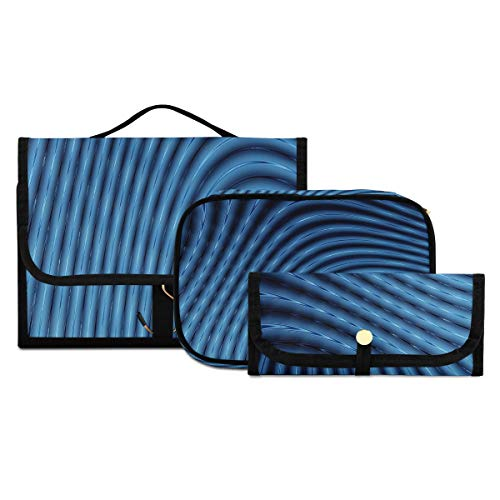 Neceser para Mujer Colgante Abstracto 3D Líneas Azules Licuadora Bolsas de Viaje para artículos de Aseo para Hombres Neceser Lavable y Plegable para Mujeres Adecuado para Viajes, Deportes y Fitness,