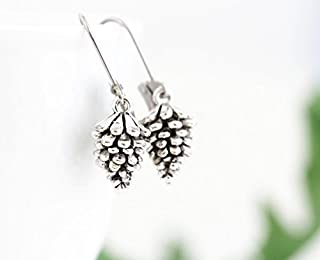 Silver Plated Pewter Pine Cone Earrings