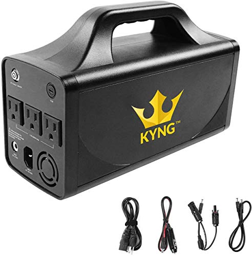 KYNG Solar Generator Portable Generator Inverter Generator 500W/110V Portable Power Station Lithium Back-Up Battery Station CPAP, Camping, Emergency, Outdoors 288Wh 3AC, 2 DC, 4 DC, 12V