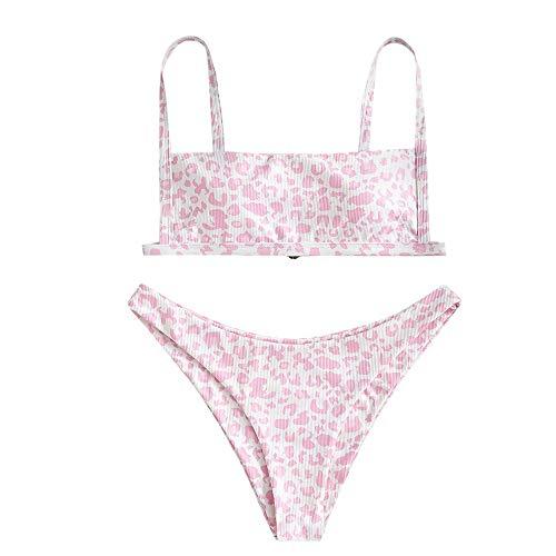 ZAFUL Damen Zweiteiliger Bikinis, gepolsterter Badeanzug mit Gerippte Leopard-Muster und hochtaillierte Badehose (Rosa-A, S)
