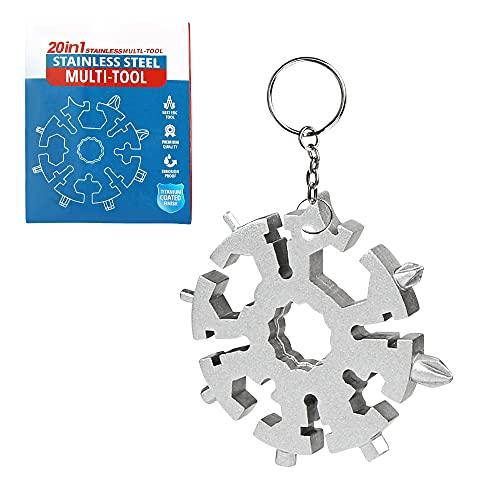 Snowflake Multitool 20 in 1, Survival Kit, Weihnachtsgeschenk für Männer, Schneeflocken Tool,Universalwerkzeuge, Kleine Gadgets, Vatertagsgeschenk, Lustige Schlüsselring