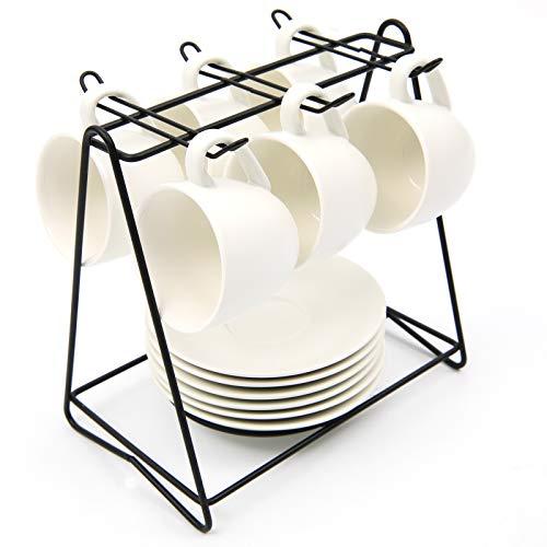 SHACOS Juego de 6 Tazas de Café con Plato 100ml Cerámica Blanca para Hogar, Oficina, Cafetería, Regalo para Cumpleaños