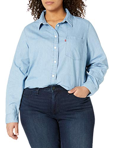 Levi's Damen Plus-Size Relaxed Fit Shirt Hemd, Mittlerer authentischer Stonewash, 4X