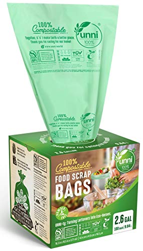 UNNI ASTM D6400 100% Compostable Trash Bags, 2.6 Gallon, 9.84 Liter, 100 Count, Extra Thick 0.71 Mils, Food Scrap Small Kitchen Trash Bags, US BPI and Europe OK Compost Home Certified, San Francisco