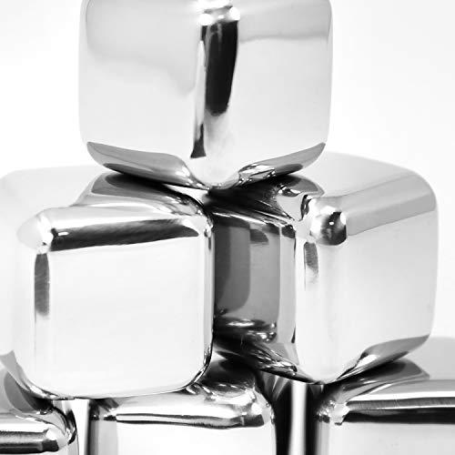 com-four® 18x Edelstahl-Eiswürfel, hochwertige Whisky-Steine, wiederverwendbare Eiswürfelform, Kühlsteine für Whiskey, Wein, Gin & Tonic-Getränke (18 Stück) - 9