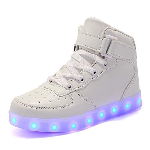 Kinder LED Schuhe LED Leuchtende Blinkende Schuhe Mode Blinkende Turnschuhe High Top Blinkende Schuhe USB Lade Outdoor Leichtathletik Beiläufige Paare Schuhe 7 Farbe Leuchtend Sportschuhe,Weiß,33