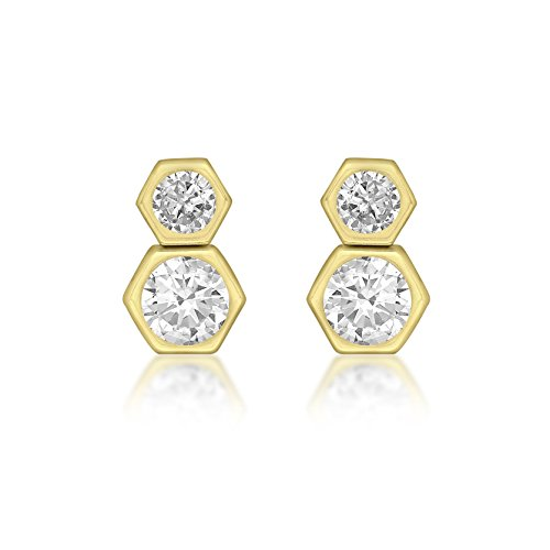 Carissima Gold 9ct Yellow Gold Double Hexagon Stud Earrings