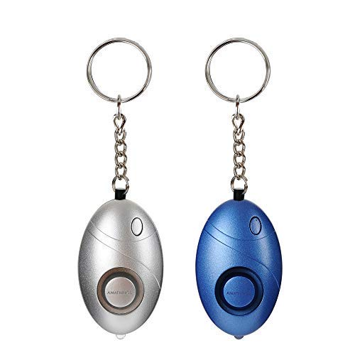 AMATHINGS 2er Set (Doppelpack) Taschenalarm Persönlicher Alarm mit Schlüsselanhänger und LED-Licht/Taschenlampe Panikalarm 140db Security Alarm für Frauen