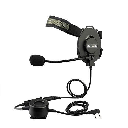 Retevis EH060K Taktisches Headset Militär Headset 2 Pin Funkgeräte Headset Kopfhörer Kompatibel mit Walkie Talkie Retevis RT24 RT27 Kenwood Baofeng WOUXUN PUXING QUANSHENG WEIERWEI HYT TYT usw.