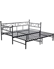 setsail Łóżko dzienne podwójne rama łóżko dla gości sofa łóżko z wyciąganym pnem do salonu pokoju gościnnego (czarny)