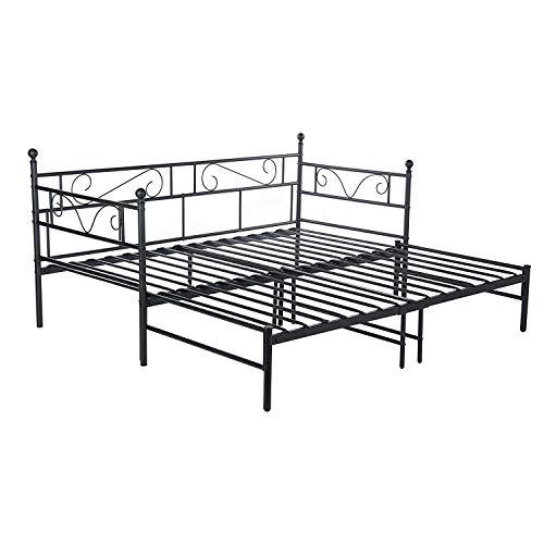 setsail Florenz Metallbett Tagesbett ausziehbar auf 180x190 cm Ausziehbett Kinderbett Bettgestell Metall Gästebett Couchbett Schwarz