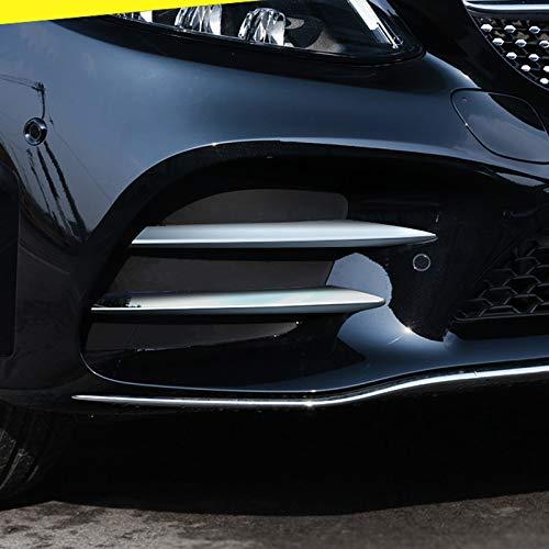 HIGH FLYING für C Klasse AMG Line Limousine W205 2019 2020 Exterieur Nebelscheinwerfer Dekor ABS 4 Stück (Silber Glänzend)