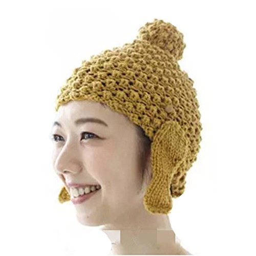 ALLDECOR Handmade Knitting Buddha Head Beanie Hat Women Winter Warm Cap Yellow