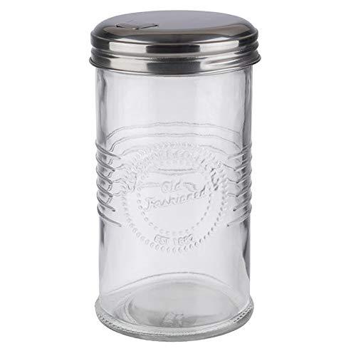 """APS Zuckerdosierer """"Old Fashioned"""" - Zuckerstreuer mit Dosierklappe, Glas/Edelstahl, Volumen 350 ml"""