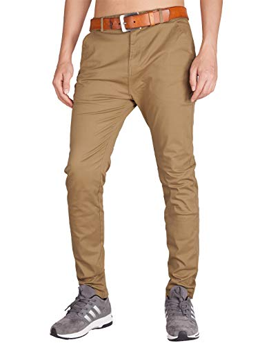 ITALYMORN Pantaloni Chinos Uomo Estivi Slim Elasticizzati Lunghi Eleganti Regular Fit (32, Cachi Scuro)