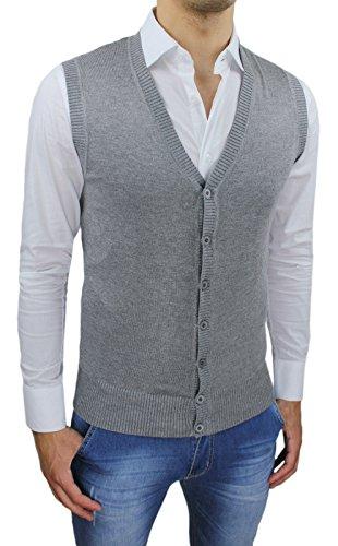 AK collezioni Gilet Smanicato uomo grigio Slim Fit casual elegante corpetto cardigan (XL)