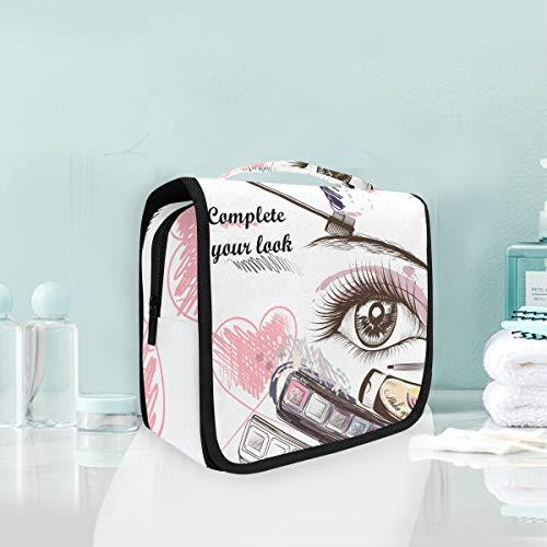 Yeux De Beauté Coeur Trousse De Toilette Sac Pliable Suspendu Cosmétique Sac Rangement Maquillage sacs pour Voyage Femmes Filles