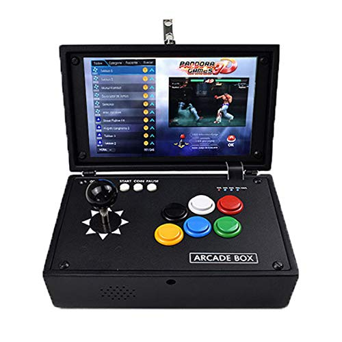 Plug & Play Video Games Machine Arcade Console 10.1 inch LCD Screen WiFi Pandora 3D Box 8000 in 1 DIY Arcade Emulator Console Portable Metal Casing Home Flip 1up Rechargable with 8000 Retro Game