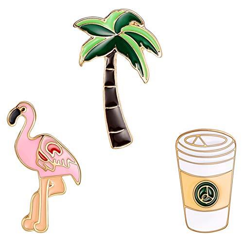 Kalaokei 3Pcs/Set Frauen amel Cartoon Cartoon Coconut Tree Flamingo Badge Brooch Pin Kleidung Schmuck Geschenk