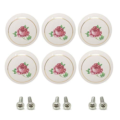 yueton 6Pcs 1-1/2 inch Hand Painted Ceramic Knobs Kitchen Cabinet Retro Vintage Door Drawer Handles Pulls for Dresser Cupboard Wardrobe (Pink Rose)