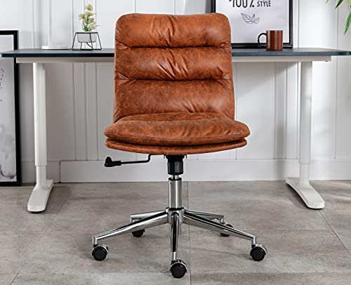 DM Furniture Armless Home Office Chair Swivel Fabric Task Chair Height Adjustable Ergonomic Upholstered Computer Desk Chair with 20° Tilt Back, Retro Brown