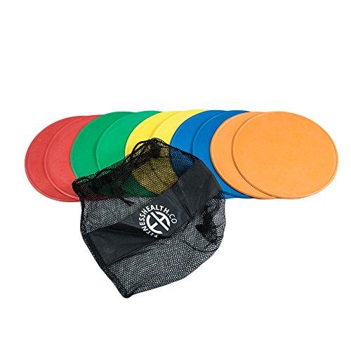 Fitness Health, Juego de 10 Discos Redondos - Discos de Goma Resistentes, Duraderos y Gruesos - 21cm Multicolor - Marcadores Antideslizantes, Uso Exterior, Interior - Para Superficies Duras y Blandas