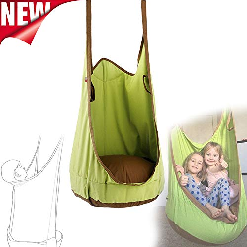Hangstoel Swing Seat Kids, Hangstoel Hangstoel, Nekbescherming Pod Swing Chair Kids Nook Tent Creative Play (Groen)