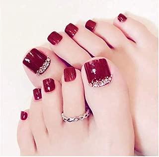 VIKSON INTERNATIONAL Red Sexy Diamond 24 Pcs Red Rhinestone Art Tips Full Cover False Toe foot Fake Nails Manicure Tools