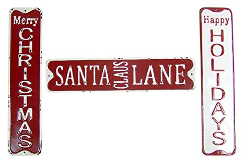 Wowser Distressed Painted Metal Merry Christmas, Happy Holidays, and Santa Claus Lane Decorative Signs, Set of 3, 19 3/4 Inch