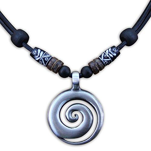 HANA LIMA ® Surferkette Koru Anhänger Metallanhänger Halskette Herren Damen Lederkette Surferhalskette