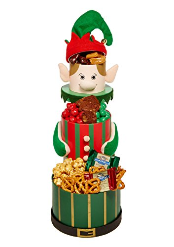 Elf CHRISTMAS GIFT BASKET 3 Tiered Tower Filled With Delectable & Yummy Deghts Gift Tower