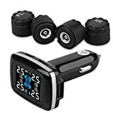 INFITARY RV TPMS Tire Pressure Monitoring System Wireless Car Bus RV Truck Trailer TPMS Real Time Monitor Temperature Air Leakage Battery Alarm Chargeable Large LCD 6 Anti-Theft Valve Cap Sensors