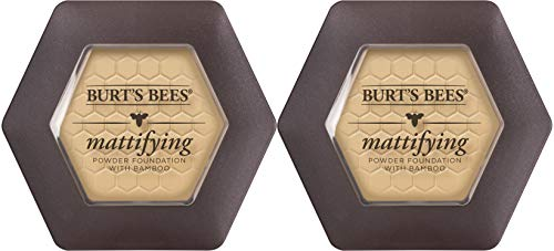 Burts Bees 100% Natural Mattifying Powder Foundation, Bare - 0.3 Ounce (Pack of 2)