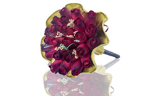 Holz-Rosen | Blumenstrauß Efeu | Rote Rosen | Perfekter Weg zu sagen I Love You rot