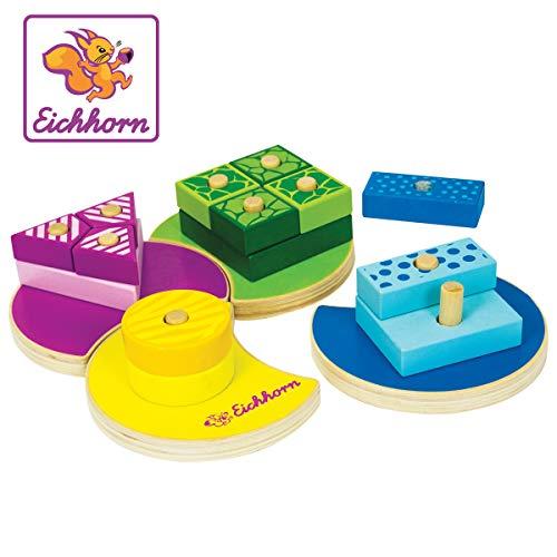 Eichhorn 100002234 - Steckspiel 18-tlg., Holz, 19x19x4,5cm, 4 versch. Stecksymbole, Grundplatte zum Puzzeln, Motorikspiel
