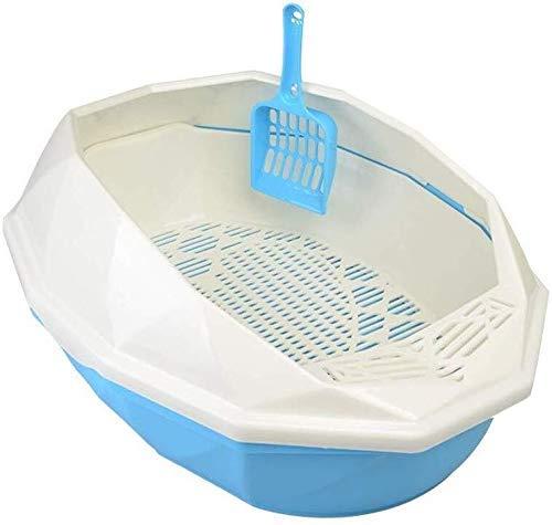 ZXL Kattenbak, kattenbak, toilet voor huisdieren, glazen vorm, zandbak voor katten, open met rand, zandbak voor huisdieren, konijn