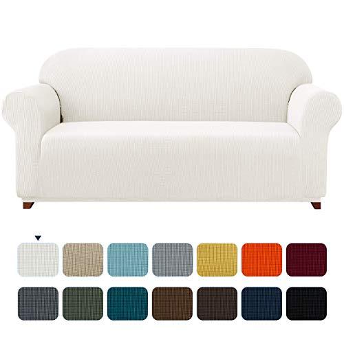 subrtex Spandex Sofabezug Stretch Sofahusse Couchbezug Sesselbezug Elastischer Antirutsch Stretchhusse Weich Stoff (2 Sitzer, Creme)