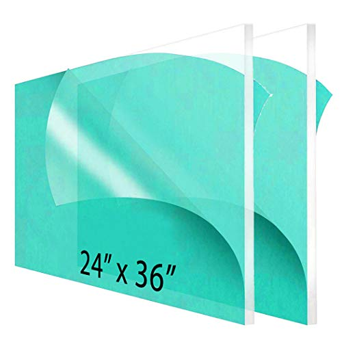"""2-Pack 24 x 36"""" Clear Acrylic Sheet Plexiglass – 1/4"""" Thick; Use for Craft Projects, Signs, Sneeze Guard and More; Cut with Cricut, Laser, Saw or Hand Tools – No Knives"""