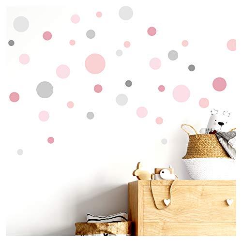 Little Deco Wandaufkleber 86 Punkte Kinderzimmer Mädchen Kreise I rosa grau I Wandtattoo Klebepunkte Wandsticker Set Dots bunt selbstklebend DL388