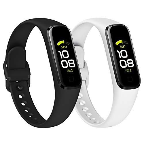 KIMILAR [2Pack Correa Compatible con Samsung Galaxy Fit 2,Correa de Silicona Banda de la Muñeca Pulseras de Repuesto Compatible con Samsung Galaxy Fit 2 Smartwatch -Blanco/Negro