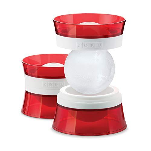 Juego de dos moldes de silicona para hacer bonitas bolas de hielo. El borde es de plástico duro. Utilízalas para enfriar tus bebidas. También adecuado para frutas heladas como aperitivos. Sin BPA ni ftalatos.