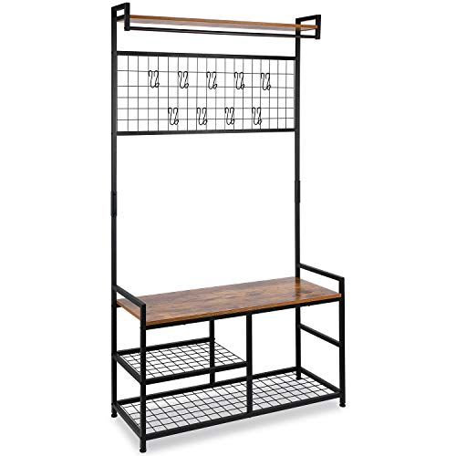 Leopard Large Hall Trees with Bench and Coat Racks with Grid Wall, Entryway Coat Racks with Storage Bench, Storage Shelf Organizer, Accent Furniture with Metal Frame, Rustic Brown