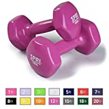 SPRI Dumbbells Deluxe Vinyl Coated Hand Weights All-Purpose Color Coded Dumbbell for Strength Training (Set of 2) (Magenta, 12-Pound)
