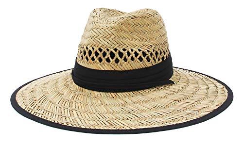 Jelord Sombrero de Paja Hombre Sombrero de Safari para Campo Decoración de Tela Limpresa con ala Ancha Anti-UV Sombrero de Panamá Verano Unisexo 58 CM