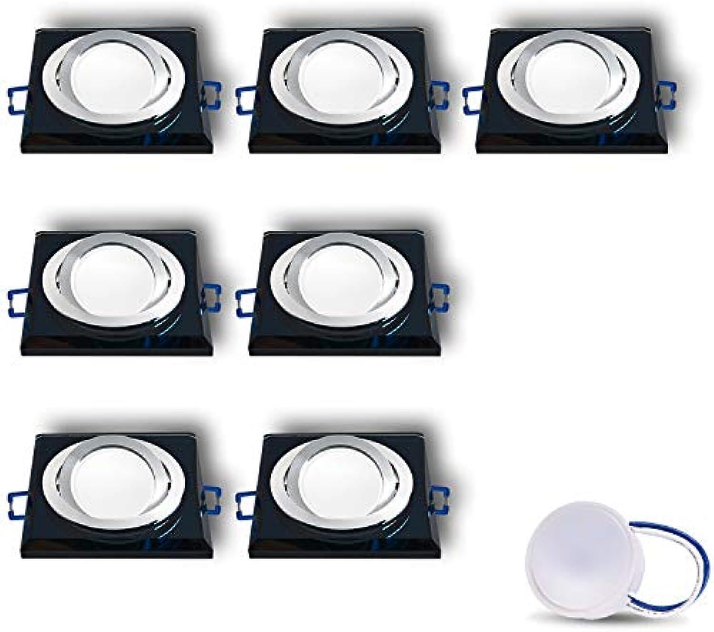 LED Einbaustrahler aus Glas Spiegel Schwarz extra-flach CRISTAL-S Eckig Schwenkbar Inkl. 7X 5W LED Modul Kaltweiss Einbautiefe  30 mm 230V IP20 Deckenstrahler Deckeneinbaustrahler Einbauspot