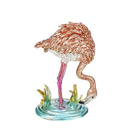 litulituhallo Bejeweled Pink Flamingos - Caja de cristal con adornos de recuerdo