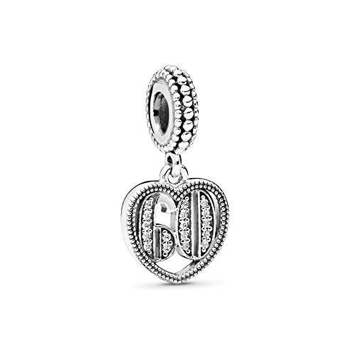 MiniJewelry 60th Birthday Celebration Charm for Bracelets fits Pandora Charms Bracelets Love Heart Women Wife Grandma Anniversary